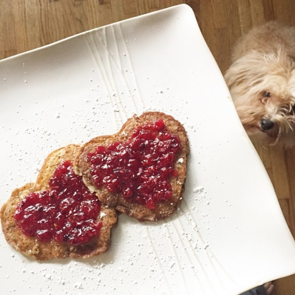 Happy Sunday!!! Today I made gluten-free/dairy-free heart shaped pancakes. Made a few adjustments to the recipe: I didn't have any eggs so I added vanilla coconut yogurt, and added some protein powder, chia seeds and cinnamon! With homemade raspberry jam on top (which I can't take credit for). They're soooo good! Don't tell Cami but I'm surprising her with some