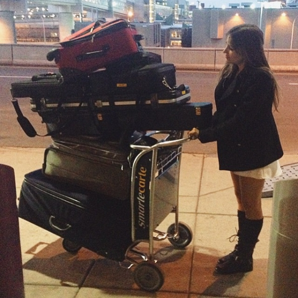A throwback to our 6am flight from Boston to LA coming home from our month long tour with a pile of luggage taller than me